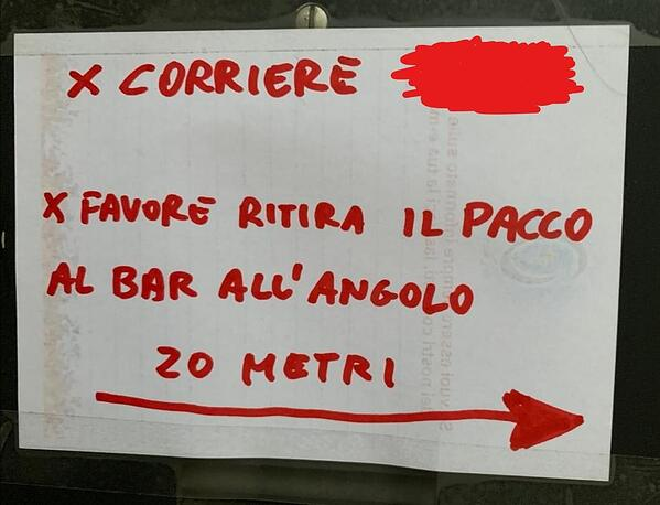 Please pick-up the package at the bar on the corner 20 meters