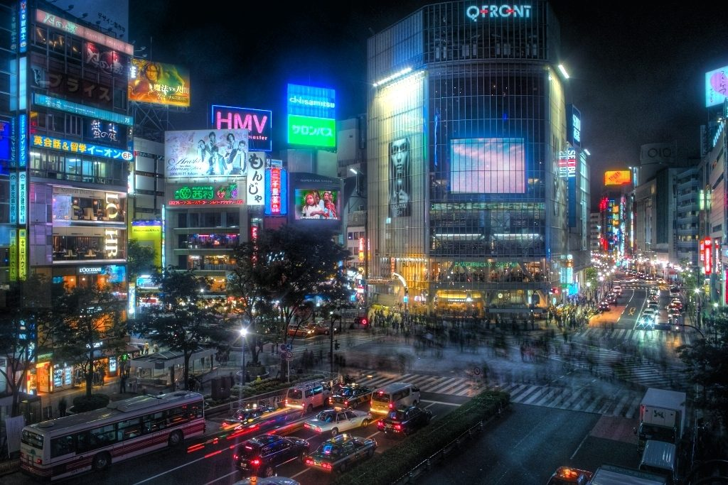 Tokyo's Shibuya's district at night
