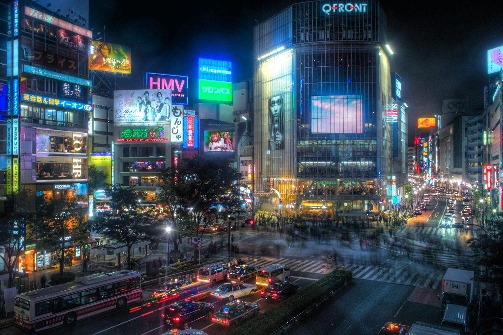Tokyo's Shibuya's district at night