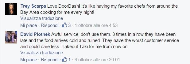 A glimpse of Doordash' Facebook page