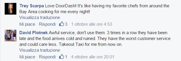 A glimpse of Doordash' Facebook page