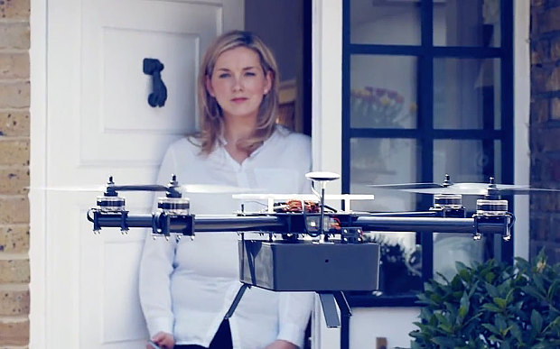 A drone hovering in front of a private doorstep