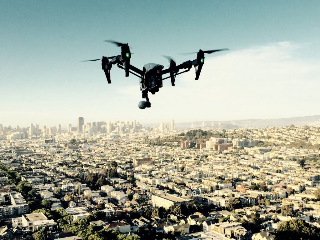 A drone pointing downton L.A.